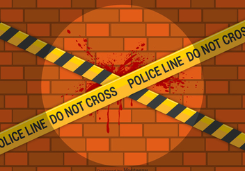 Free Vector Police Line On Brick Wall - vector gratuit #420421