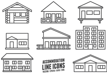 Accommodation Line Icons - vector #420701 gratis