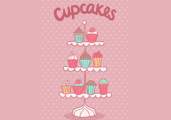 Free cupcake stand vector - vector #420931 gratis
