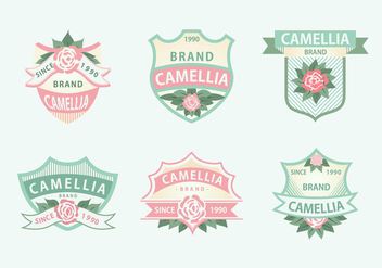 Camellia Flowers Pink Green Soft Color Label Vector - Free vector #421131