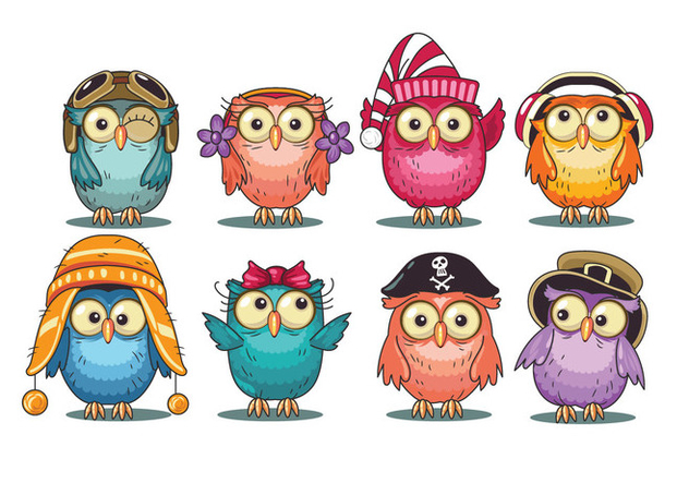 Cute Cartoon Owls Collection - vector #421311 gratis