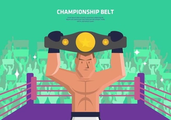 Boxer with Championship Belt Background - vector gratuit #421501