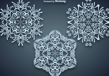Vector Set Of Gorgeous Large Blue Snowflakes - Free vector #421551