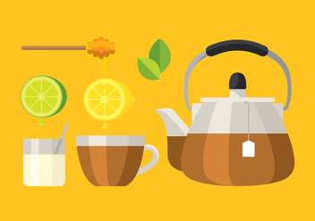 Teapot Set Glass Vector - vector gratuit #421711