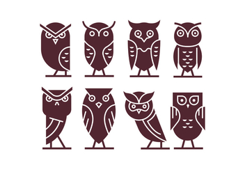 Set of Owl Icon Vectors - Free vector #421721