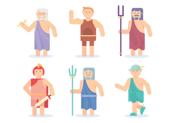 Flat Hercules and Greek God Vectors - vector gratuit #421751