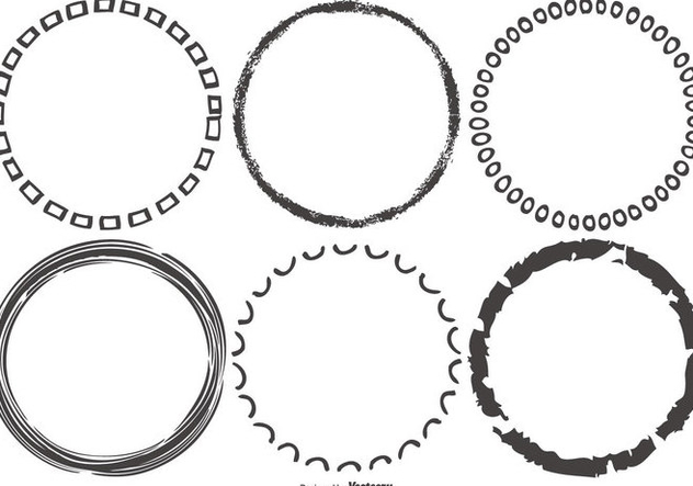 Funky Sketchy Round Frames - vector gratuit #421761