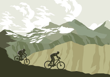 Mountain Bike Trail Vector - Free vector #421801