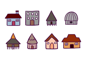 House and Cabana Icons - vector #421921 gratis