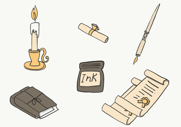 Inkwell and Writing Set Free Vector - Kostenloses vector #421991
