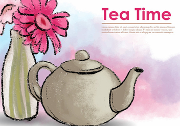 Vector Pastel Teapot With Flower - бесплатный vector #422051
