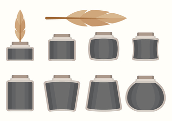 Flat Inkwell Set - Free vector #422211