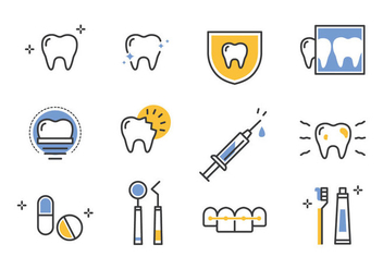 Dentista line icons set - Free vector #422321
