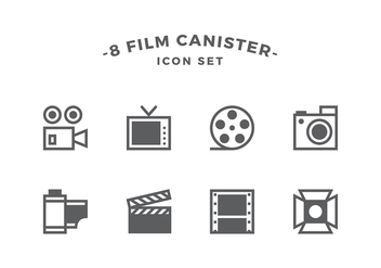 Film Canister Line Icon Set Vector - Free vector #422341
