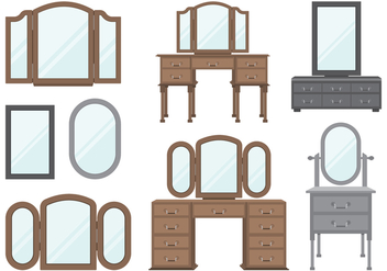 Wooden Dressing Tables Set - vector gratuit #422361