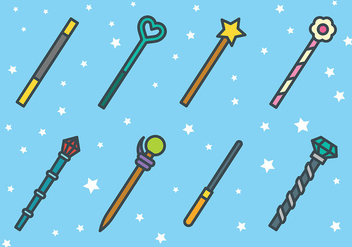 Free Magic Stick Icons Vector - vector gratuit #422371