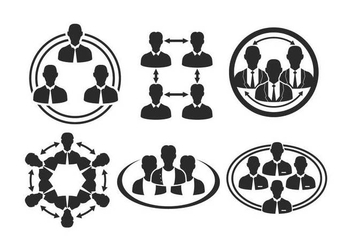 Working Together Icon Vector Set - vector gratuit #422401