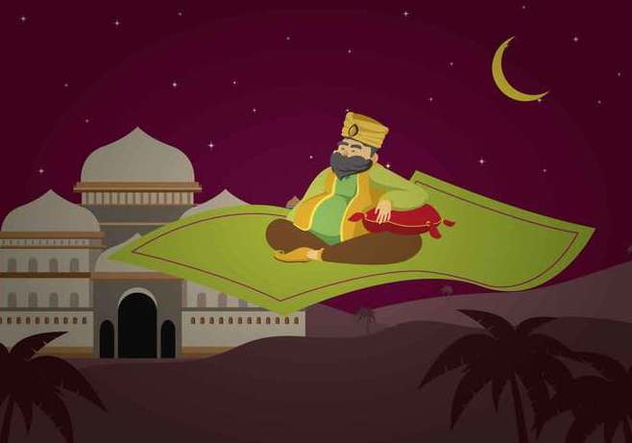 Free Sultan Riding Magic Carpet Illustration - vector #422431 gratis