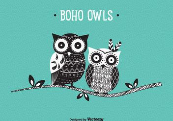 Cute Patterned Boho Owls Vector - Free vector #422461