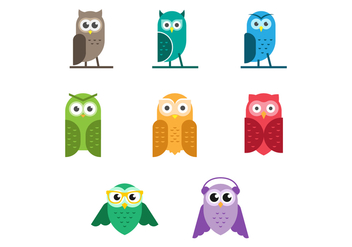 Free Set of Cute Owls Vector - vector gratuit #422501