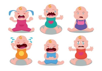 Cute Crying Baby Vector Set - vector gratuit #422531