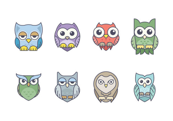 Cute Owl Icon Pack - vector gratuit #422901