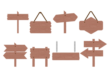 Free Wood Sign Board Vector Collection - Free vector #422911