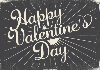 Vintage Typographic Happy Valentine's Day Illustration - vector gratuit #422941