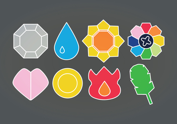 Vector Pokemon Badges - vector gratuit #423091