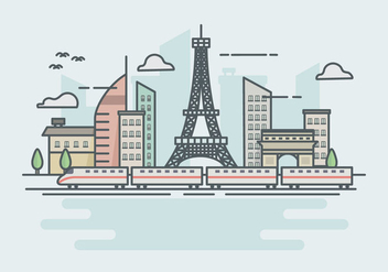 High speed rail TGV city train lanscape ilustration - Kostenloses vector #423291