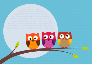 Cute Colorful Owl Vectors on a Branch - vector gratuit #423311