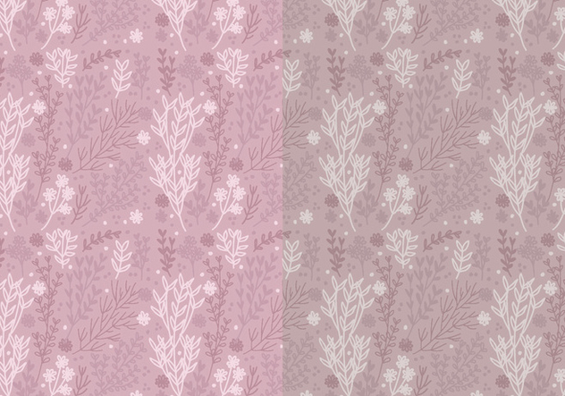 Two Vector Patterns of Hand Drawn Floral Elements - Free vector #423331