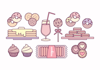 Vector Outline Illustrations of Sweets - Free vector #423341