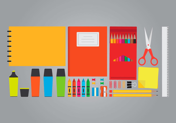 Office and Art Supplies Set - vector #423431 gratis