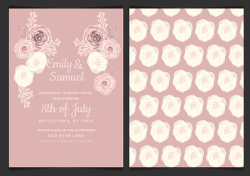 Vector Wedding Invitation with Delicate Roses - vector gratuit #423471