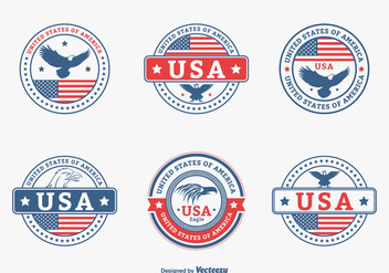 Colored USA Eagle Seal Vector Set - Free vector #423571