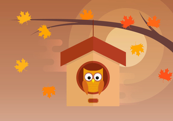 Owl In Tree House - vector gratuit #423591
