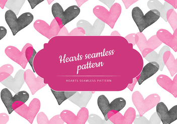 Vector Seamless Pattern of Watercolor Hearts - бесплатный vector #423601