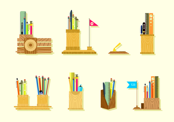 Wooden Pen Holder Free Vector - vector gratuit #423661