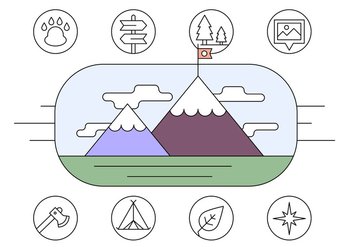Free Hiking and Adventure Icons - vector #423841 gratis
