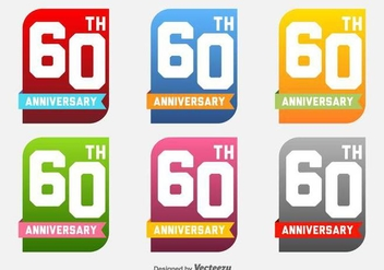 60th Anniversary Vector Labels - бесплатный vector #423881