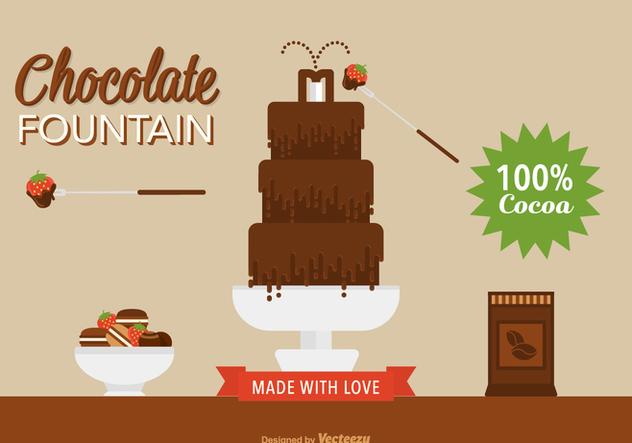 Flat Chocolate Fountain Vector - Free vector #424081