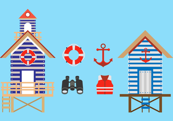 Flat Lifeguard Stand Vectors - бесплатный vector #424141