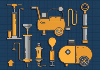 Air Pump Tools Set Vector Flat - Free vector #424351