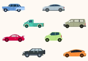 Flat Car Vector Collection - Free vector #424381