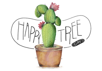 Cute Very Colorful Cactus Illustration With Flower Watercolor Happy Tree Day - vector gratuit #424401