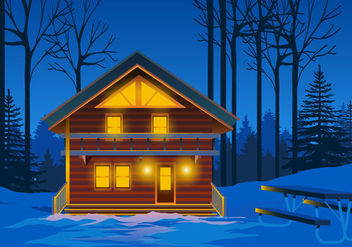 Alpine Chalet at Night Vector - бесплатный vector #424561