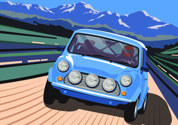 European Style Car Driving Through Mountains Vector - Free vector #424651