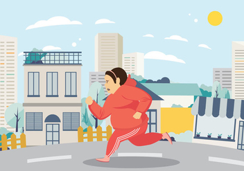 Woman Exercising and Running on the Street Vector - Free vector #424661