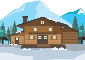 Mountain Chalet House Vector - Free vector #424671